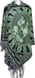 Rebozo Verde *MAYA CALENDARIO*. Mexican Shawln. Mide 210 cm largo x 70 cm ancho. HECHO EN MEXICO.