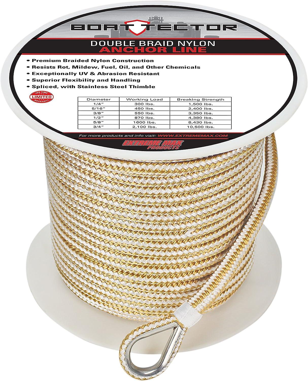 Extreme Max BoatTector Premium Double Braid Nylon Anchor Line with Thimble, White & gold 3 8  x 250' White & gold