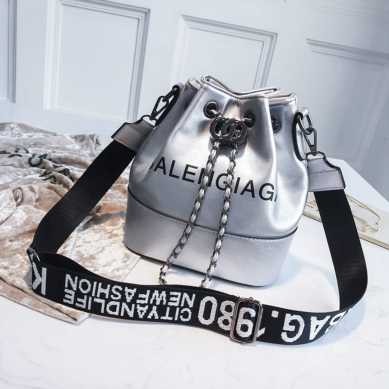 WANGZHAO Single Shoulder Bag, Satchel Bag, Women's Bag, Bucket, Bag, Wild Box, Letter, Trend.