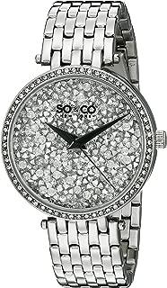 SO&CO New York Women's 5080.1 SoHo Quartz Crystal Filled Dial Stainless Steel Link Bracelet Watch