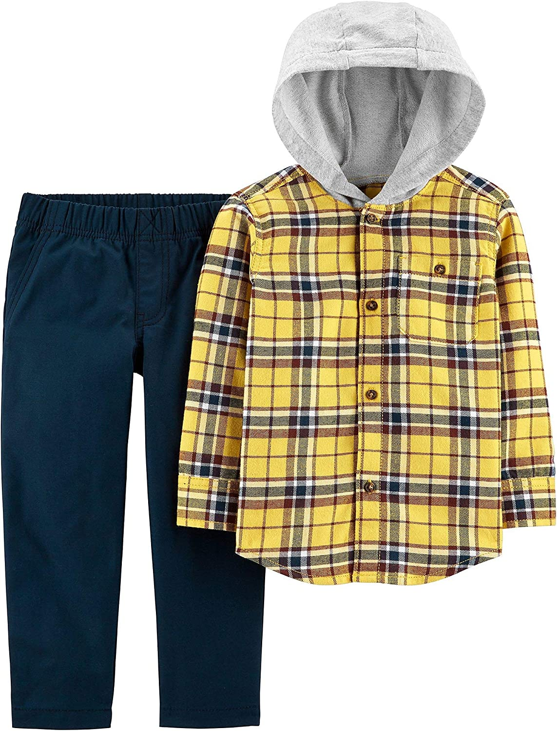 Carter's Baby Boys Plaid Button Down Hoodie Pants Set 24 Months Yellow/Blue