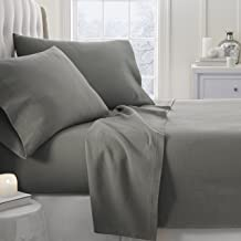 Simply Soft 4 Piece Flannel Sheet Set, King, Gray