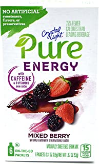 Crystal Light Pure Energy Mixed Berry On The Go Drink Mix, 6-Packet Box (25 Box Pack)