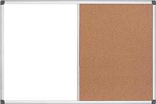 """MasterVision Maya Combination Board, Dry Erase/Cork Bulletin Board, 18"""" x 24"""", Whiteboard/Cork Board with Aluminum Frame"""