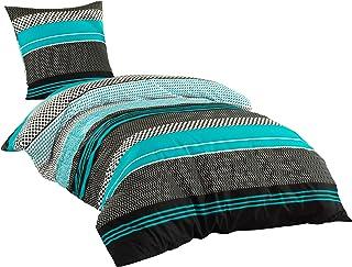 Sentidos Bettwäsche-Set 2-teilig Renforcé Baumwolle 135x200 cm mit Reißverschluss Bett-Bezug, 80x80 cm Kissen-Bezug Bett-G...
