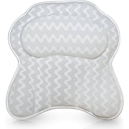 Luxurious Bath Pillow for Women & Men - Ergonomic Bathtub Cushion for Neck, Head & Shoulders with Breathable QuiltedAir Mesh (Includes Washing Bag and Travel Case)