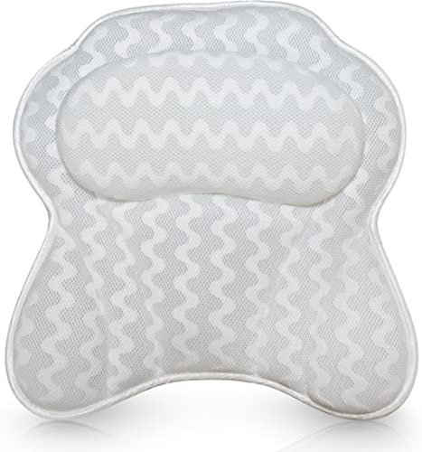 Bath Haven Luxurious Bath Pillow for Women & Men :: Ergonomic Bathtub Cushion for Neck, Head & Shoulders :: with Quil...