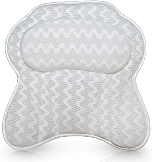 Luxurious Bath Pillow for Women & Men :: Ergonomic Bathtub Cushion for Neck, Head & Shoulders :: with QuiltedAir Mesh for Breathable Comfort :: Includ