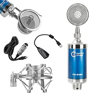 CenterStage CS-212 Studio Broadcast/Podcast & Recording Condenser Vocal Microphone Bundle Kit with Pop Filter + Shockmount + XLR to 3.5mm Cable + USB Soundcard