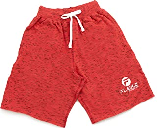 Men's Fleece Jogging and Bodybuilding Gym Workout Sweat Shorts Red
