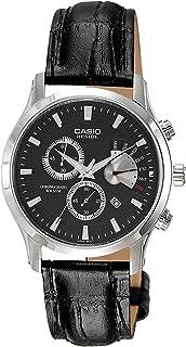 ساعة كاسيو بيسايد للرجال شاشة سوداء سوار من الجلد - BEM-501L-1A