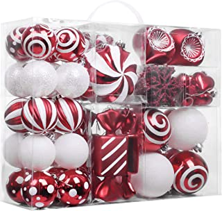 Valery Madelyn 108ct Sweet Candy Shatterproof Christmas Ball Ornaments Decoration Red and White,1.18Inch-6.3Inch,Themed with Tree Skirt(Not Included)
