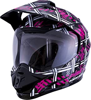 GMAX GM-11 Adult Pink Ribbon Riders Daul-Sport Motorcycle Helmet - Black/Pink/Medium