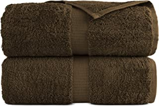 100% Luxury Turkish Cotton, Eco-Friendly, Soft and Super Absorbent 35'' x 70'' Large Bath Sheets (Cocoa, Set of 2)
