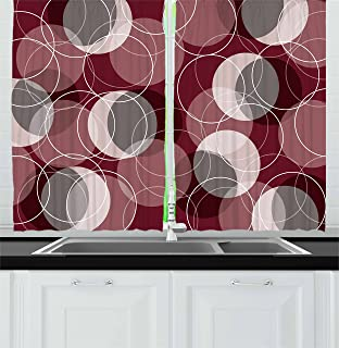 Ambesonne Maroon Kitchen Curtains, Retro Skinny Ring Shapes Overlapping Circles Funky Groovy Optical, Window Drapes 2 Pane...