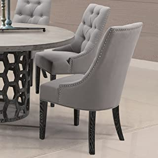 Armen Living LCCNSIGR Centennial Dining Chair Set of 2 in Grey Fabric and Black Wood Finish