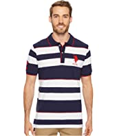 U.S. POLO ASSN. - Classic Fit Striped Short Sleeve Pique Polo Shirt