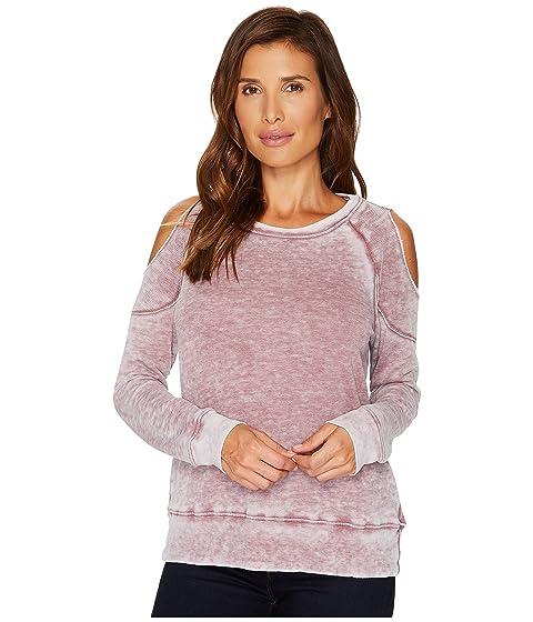 ALLEN ALLEN Cold Shoulder Sweatshirt, Sangria