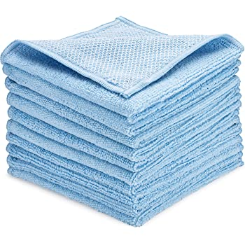 """Zflow Microfiber Dish Cleaning Cloth - Dish Rags Kitchen Cleaning Cloths with Poly Scour Mesh Scrubbing Side - 10 Pack 12""""x12"""""""