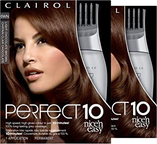 Clairol Nice'n Easy Perfect 10 Permanent Hair Color, 6WN Light Chocolate Brown, 2 Count