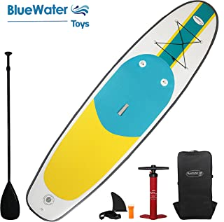 Blue Water 11' Premium SUP | Inflatable Stand Up Paddle Board Set | 34 Inches Wide Extra Stable | Extra Large Non-Slip Deck | 6 Inches Thick | Youth & Adult