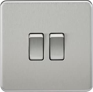 Knightsbridge SF3000BC Screwless 10 A 2-Gang 2 Way Switch, Brushed Chrome