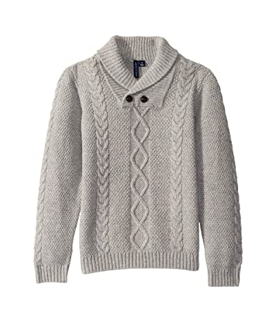 Janie and Jack Shawl Collar Pullover Sweater (Little Kids/Big Kids) (Heather Grey) Boy