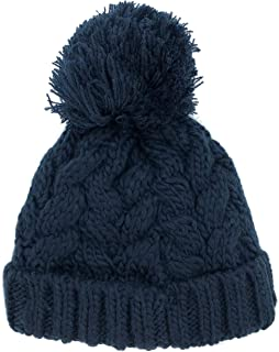 Sonemone Baby Unisex Cold Weather Navy Cable Knit Pompom Beanie with Fleece Lining for Age 12-24 Months