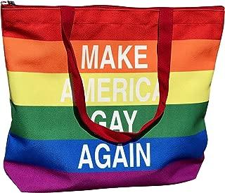 Drumpf.WTF Make America Gay Again Anti-Trump, Pro-Equality Rainbow LGBTQ Gay Pride Flag Zippered Canvas Tote Bag