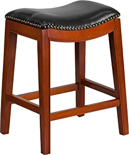 Flash Furniture 26'' High Backless Light Cherry Wood Counter Height Stool with Black Leather Saddle Seat