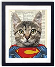 SuperCat, Superhero Kids Bedroom Wall Decor, Vintage Wall Art Upcycled Dictionary Art Print Poster For Kids Room Decor 8x10 inches, Unframed