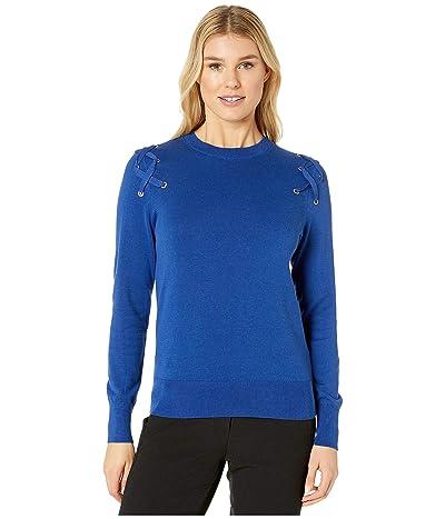 MICHAEL Michael Kors X- Detail Long Sleeve Crew Sweater (Twilight Blue) Women