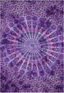 Gokul Handloom Indian Hippie Bohemian Psychedelic Peacock Mandala Wall Hanging Floral Gold Bedding Tapestry Purple Tie Dye