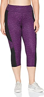 Just My Size Women's Plus Size Active Pieced Stretch Capri