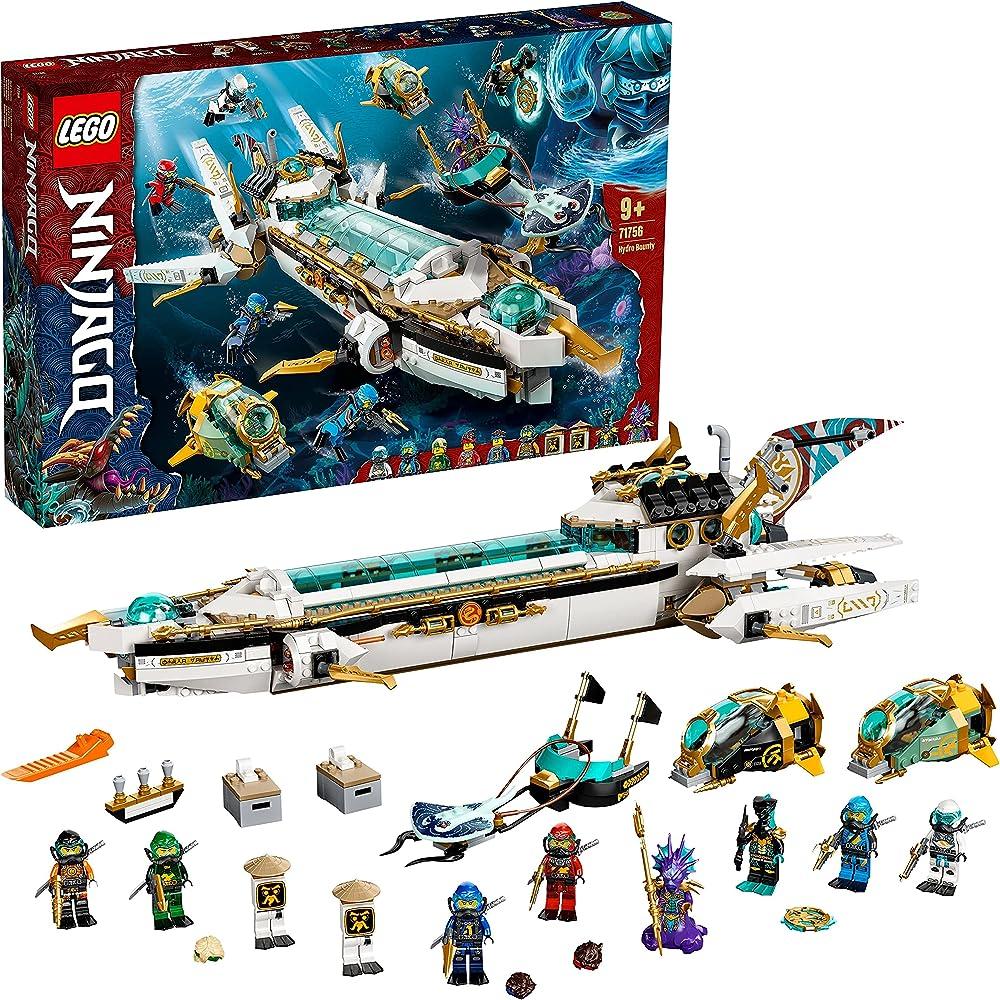 Lego ninjago, idro-vascello, sottomarino, con le minifigure dei ninja kai e nya 71756