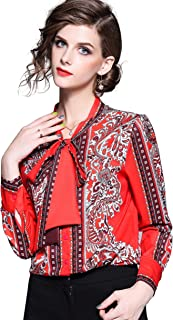 Women's Tie Neck Floral Print Shirt Casual Long Sleeve Blouse Top