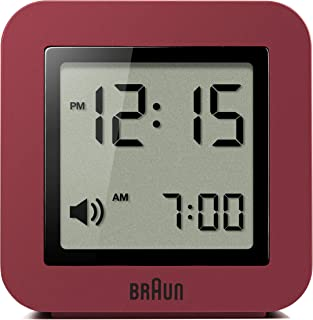 Braun Digital Travel Alarm Clock with Snooze, Compact Size, Positive LCD Display, Quick Set, Beep Alarm in Red, model BNC0...