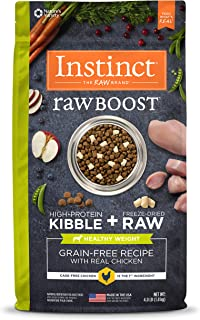 Instinct 6275220 Raw Boost Grain-Free Kibble Healthy Weight Recipe Dry Dog Food, 4lb
