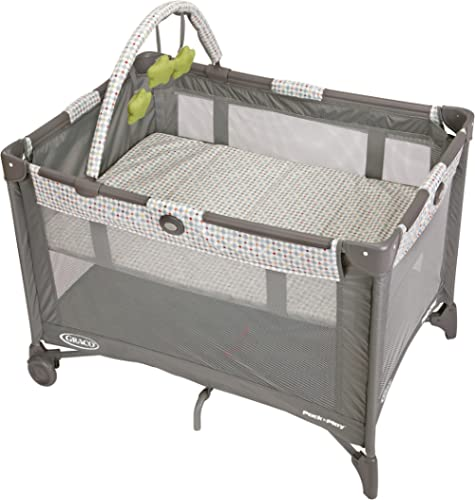 Graco Pack and Play On the Go Playard, Includes Full-Size Infant Bassinet, Push Button Compact Fold, Pasadena