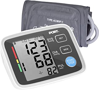 Digital Blood Pressure Monitor By PORT: Systolic And Diastolic Blood Pressure Automatic Device, Accurate Readings, Easy To Understand, One Size Fits All Arm Sleeve, Memory Function For 2 Users