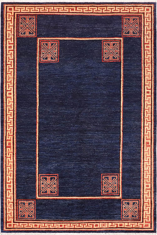 Bohemian Raleigh Mall Modern Chantell Blue Beige Wool Rug x Genuine Free Shipping - 5'7'' 9'2''