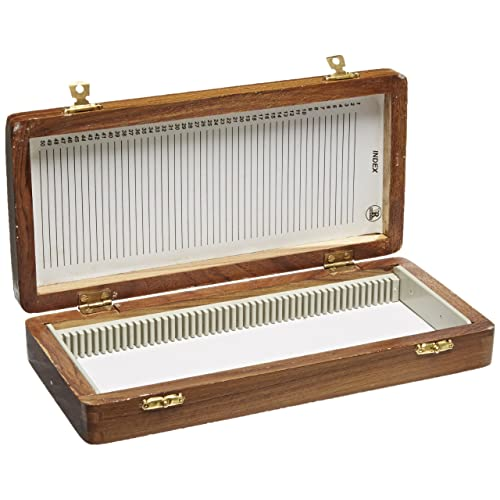 Brown 50 Prepared Microscope Slides and Wooden Case