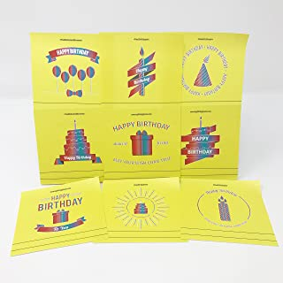 Happy Birthday Sticky Notes - Perfect for Birthday Cards, Party Supplies & Favors - 1 Pad 50 Sheets/Pad 10 Unique Quotes & Designs