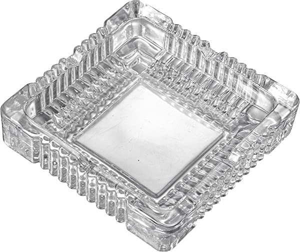 Visol Akiro Square Tabletop Decorative Glass Ashtray For Cigars And Cigarettes