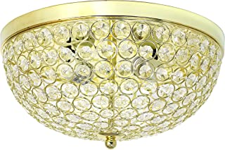 Elegant Designs FM1000-GLD 2 LightElipse Crystal Flush Mount Ceiling Light, Gold