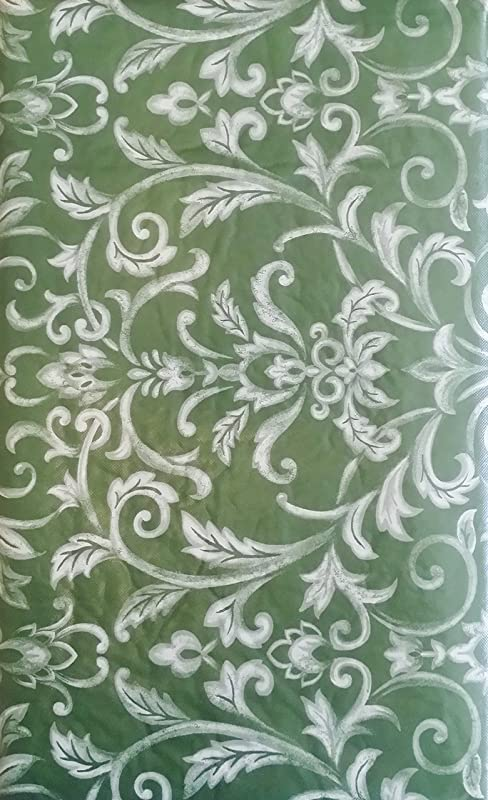 Floral Swirl Damask Assorted Sizes And Colors Vinyl Flannel Back Tablecloth 52 X 70 Oblong Green