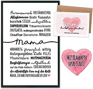 Prezent na Dzień Matki z artystycznym nadrukiem w ramce, składana kartka, koperta i pocztówki – prezent na Dzień Matki – p...