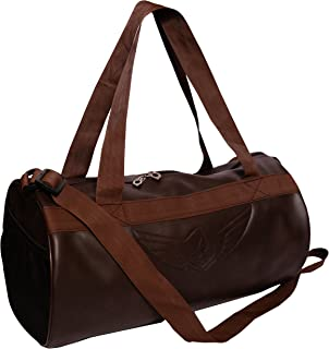 Auxter Leatherite Gym Bag Duffel Bag Emboss Logo (Brown)