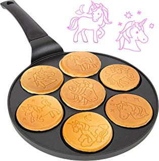 Unicorn Mini Pancake Pan - Make 7 Unique Flapjack Unicorns, Nonstick Pan Cake Maker Griddle for Breakfast Fun & Easy Cleanup