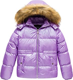 amropi Kids Girls Winter Puffer Jacket Padded Long Coat with Fur Hood for 2-12 Years